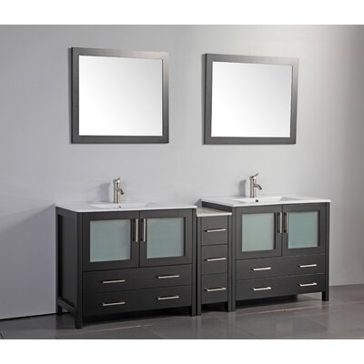 84 Double Bathroom Vanity Set with Mirror Base Finish: Espresso