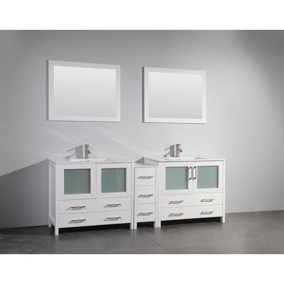 84 Double Bathroom Vanity Set with Mirror Base Finish: White