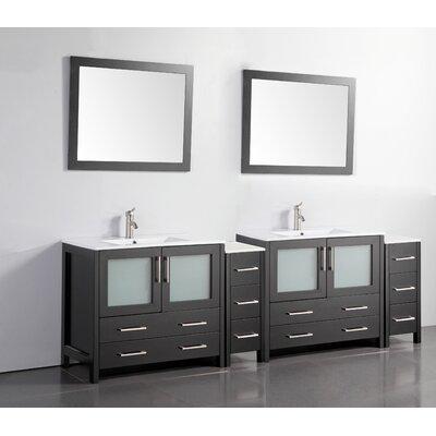 96 Double Bathroom Vanity Set with Mirror Base Finish: Espresso