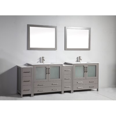 96 Double Bathroom Vanity Set with Mirror Base Finish: Gray