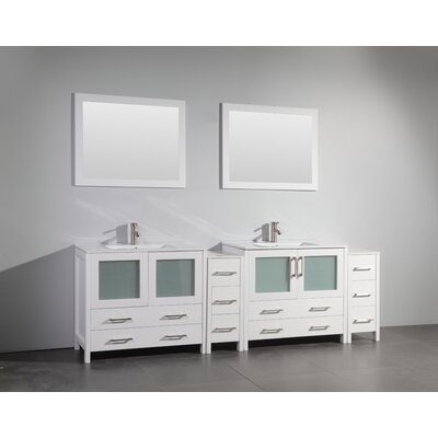 96 Double Bathroom Vanity Set with Mirror Base Finish: White