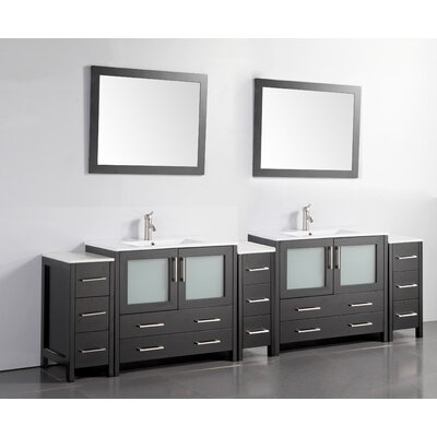 108 Double Bathroom Vanity Set with Mirror Base Finish: Espresso