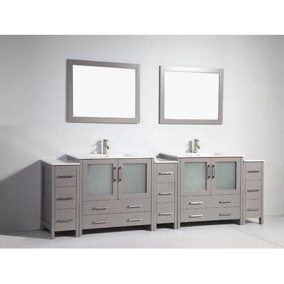 108 Double Bathroom Vanity Set with Mirror Base Finish: Gray