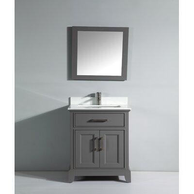 Phoenix Stone 30 Single Bathroom Vanity with Mirror Base Finish: Gray