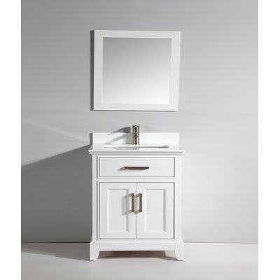 Phoenix Stone 30 Single Bathroom Vanity with Mirror Base Finish: White