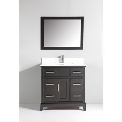 Phoenix Stone 36 Single Bathroom Vanity with Mirror Base Finish: Espresso