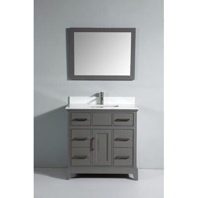 Phoenix Stone 36 Single Bathroom Vanity with Mirror Base Finish: Gray