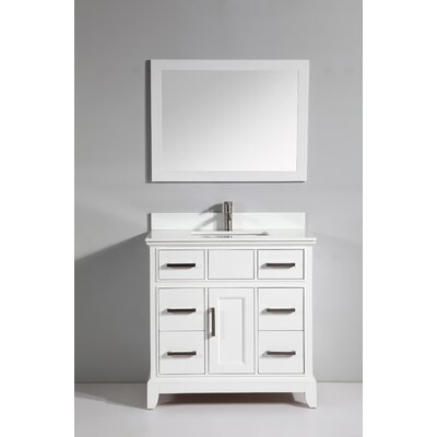 Phoenix Stone 36 Single Bathroom Vanity with Mirror Base Finish: White