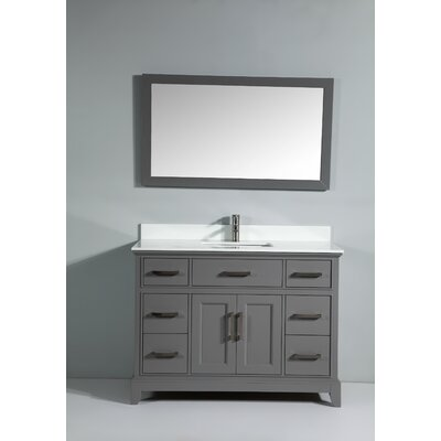 Phoenix Stone 48 Single Bathroom Vanity with Mirror Base Finish: Gray