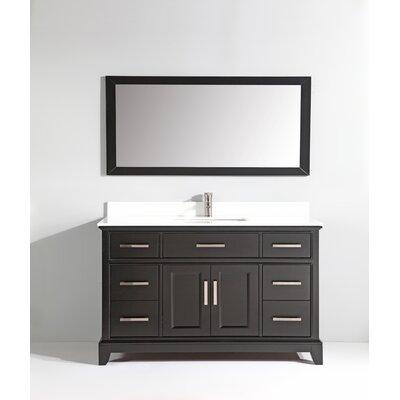 Phoenix Stone 60 Single Bathroom Vanity with Mirror Base Finish: Espresso