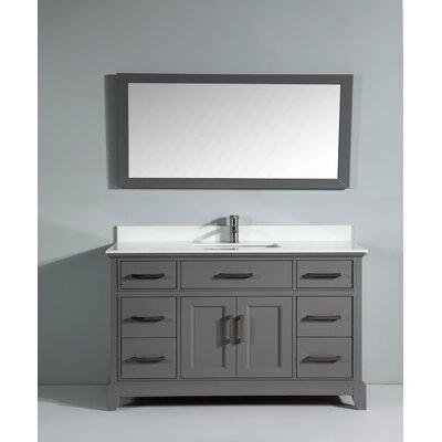 Phoenix Stone 60 Single Bathroom Vanity with Mirror Base Finish: Gray