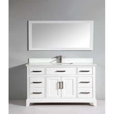 Phoenix Stone 60 Single Bathroom Vanity with Mirror Base Finish: White