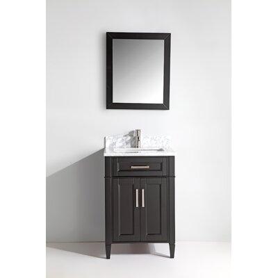 Carrara Marble 24 Single Bathroom Vanity with Mirror Base Finish: Espresso