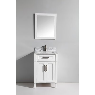 Carrara Marble 24 Single Bathroom Vanity with Mirror Base Finish: White