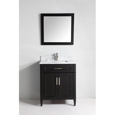 Carrara Marble 30 Single Bathroom Vanity with Mirror Base Finish: Espresso