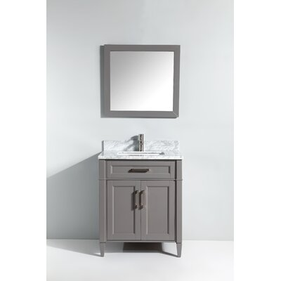 Carrara Marble 30 Single Bathroom Vanity with Mirror Base Finish: Gray