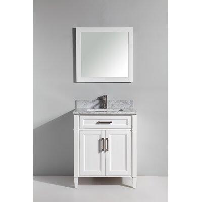 Carrara Marble 30 Single Bathroom Vanity with Mirror Base Finish: White