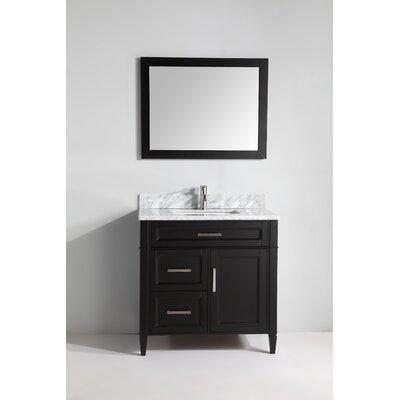 Carrara Marble 36 Single Bathroom Vanity with Mirror Base Finish: Espresso