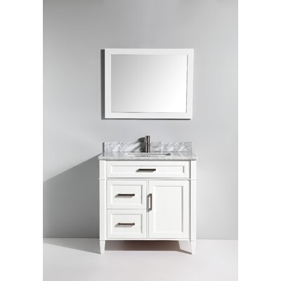 Carrara Marble 36 Single Bathroom Vanity with Mirror Base Finish: White
