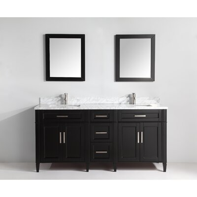 Carrara Marble Stone 72 Double Bathroom Vanity with Mirrors Base Finish: Espresso