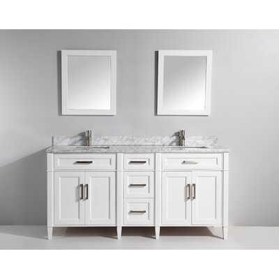 Carrara Marble Stone 72 Double Bathroom Vanity with Mirrors Base Finish: White