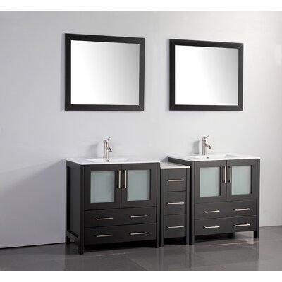 Karson 72 Double Bathroom Vanity Set with Mirror Base Finish: Espresso