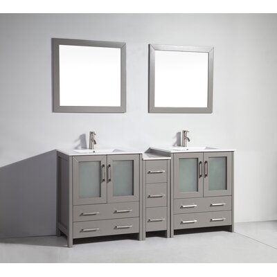 Karson 72 Double Bathroom Vanity Set with Mirror Base Finish: Gray