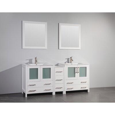 Karson 72 Double Bathroom Vanity Set with Mirror Base Finish: White