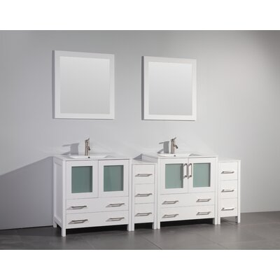 Karson 84 Double Bathroom Vanity Set with Mirror Base Finish: White