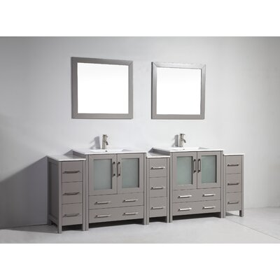 Karson Modern 96 Double Bathroom Vanity Set with Mirror Base Finish: Gray