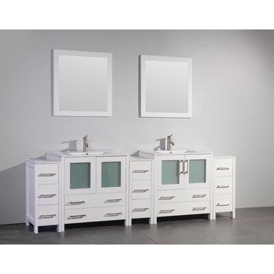 Karson Modern 96 Double Bathroom Vanity Set with Mirror Base Finish: White