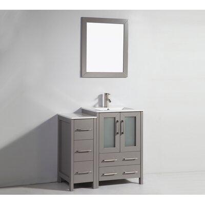 Karson 36 Bathroom Vanity Set with Mirror Base Finish: Gray