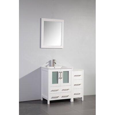 Karson 36 Bathroom Vanity Set with Mirror Base Finish: White
