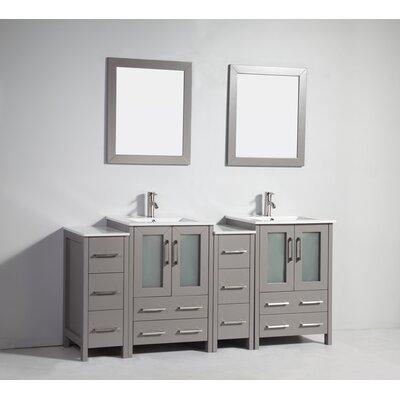 Karson Modern 72 Double Bathroom Vanity Set with Mirror Base Finish: Gray