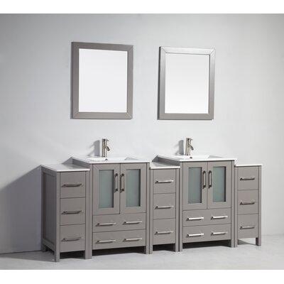 Karson Framed 84 Double Bathroom Vanity Set with Mirror Base Finish: Gray