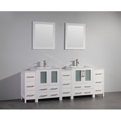Karson Framed 84 Double Bathroom Vanity Set with Mirror Base Finish: White