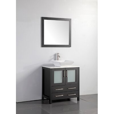 Karson Framed 30 Single Bathroom Vanity Set with Mirror Base Finish: Espresso