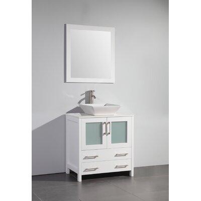 Karson Square 30 Single Bathroom Vanity Set with Mirror Base Finish: White