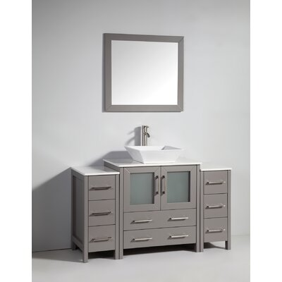 Karson Framed 54 Single Bathroom Vanity Set with Mirror Base Finish: Gray