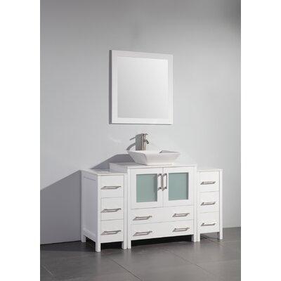 Karson Framed 54 Single Bathroom Vanity Set with Mirror Base Finish: White