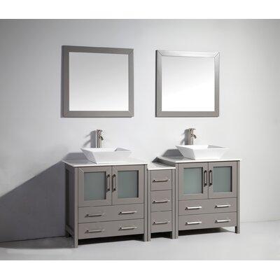 Karson Framed 72 Double Bathroom Vanity Set with Mirror Base Finish: Gray