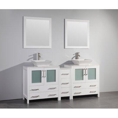 Karson Framed 72 Double Bathroom Vanity Set with Mirror Base Finish: White