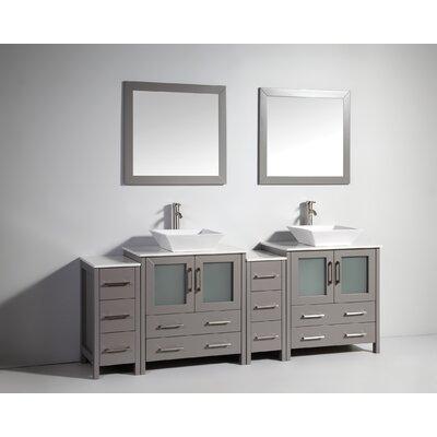Karson Modern 84 Double Bathroom Vanity Set with Mirror Base Finish: Gray