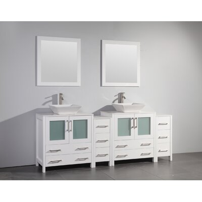 Karson Modern 84 Double Bathroom Vanity Set with Mirror Base Finish: White