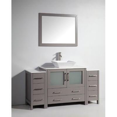 Karson 60 Single Bathroom Vanity Set with Mirror Base Finish: Gray