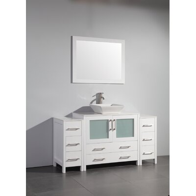 Karson 60 Single Bathroom Vanity Set with Mirror Base Finish: White