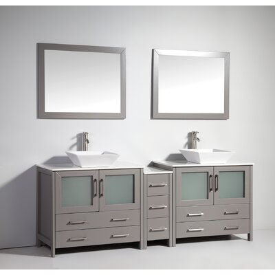 Karson Wooden 84 Double Bathroom Vanity Set with Mirror Base Finish: Gray