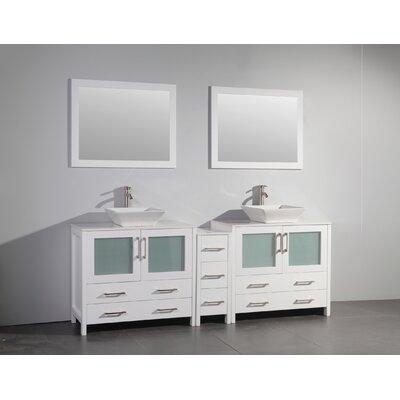 Karson Wooden 84 Double Bathroom Vanity Set with Mirror Base Finish: White