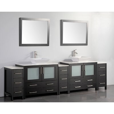 Karson 108 Double Bathroom Vanity Set with Mirror Base Finish: Espresso
