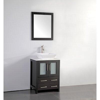 Knutsen 24 Single Bathroom Vanity Set with Mirror Base Finish: Espresso